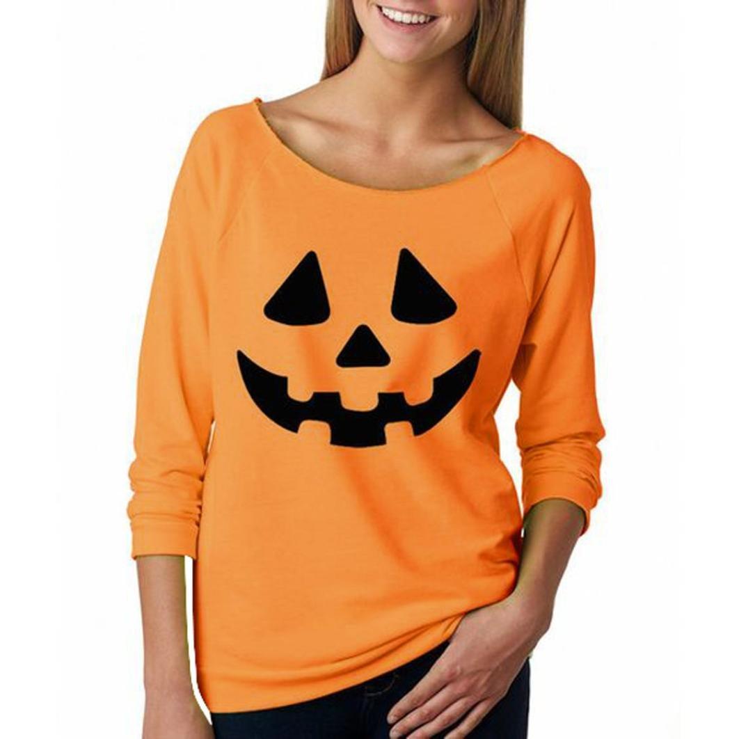 dedb1bdb ensLTD Women Halloween Pumpkin Print Long Sleeve Sweatshirt Pullover Tops  Blouse Shirt (M, Orange1): Amazon.in: Clothing & Accessories