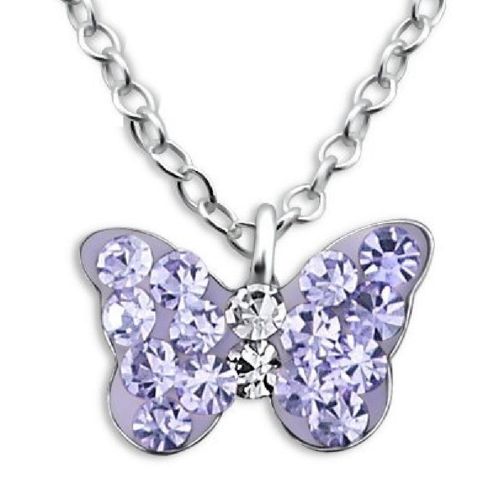 So Chic Bijoux © Collier Enfant Longueur 39 cm Papillon Cristal Violet Argent 925 LB0722
