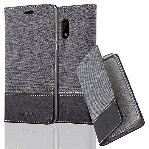Cadorabo - Funda Estilo Book para >                          Nokia 6                          < de Diseño Tela / Cuero Arificial con Tarjetero, Función de Soporte y Cierre Magnético Invisible �?Etui Case Cover Carcasa Caja Protección in AZUL-OSCURO-N GRIS-NEGRO