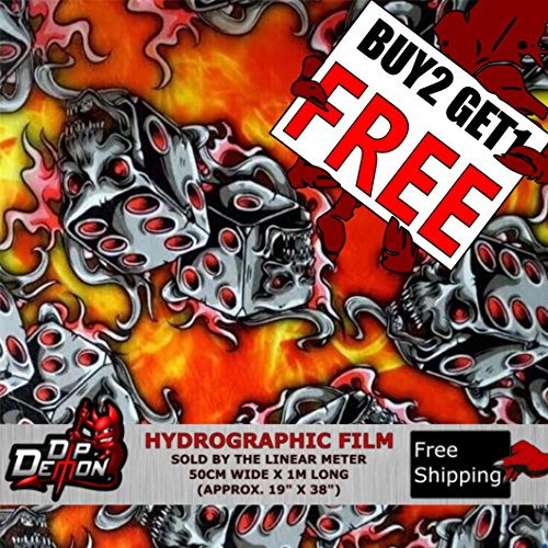 Lm Red Flaming Dice Skulls Fire Flames Yellow Orange Hydrographic Water Transfer Film Hydro Dipping Dip Demon ()