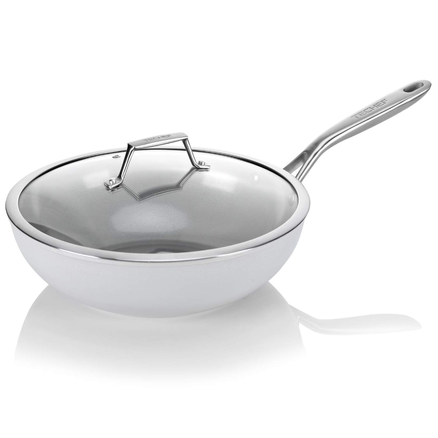 TECHEF – CeraTerra 12 Ceramic Nonstick Wok Stir-Fry Pan, PTFE and PFOA Free Ceramic Exterior Interior , Oven Dishwasher Safe, Made in Korea, Grey Silver 12-in with lid