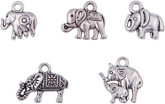 10 x Tibetan Style Elephant Charms 17mm x 13mm Antique Silver Elephants Pendants
