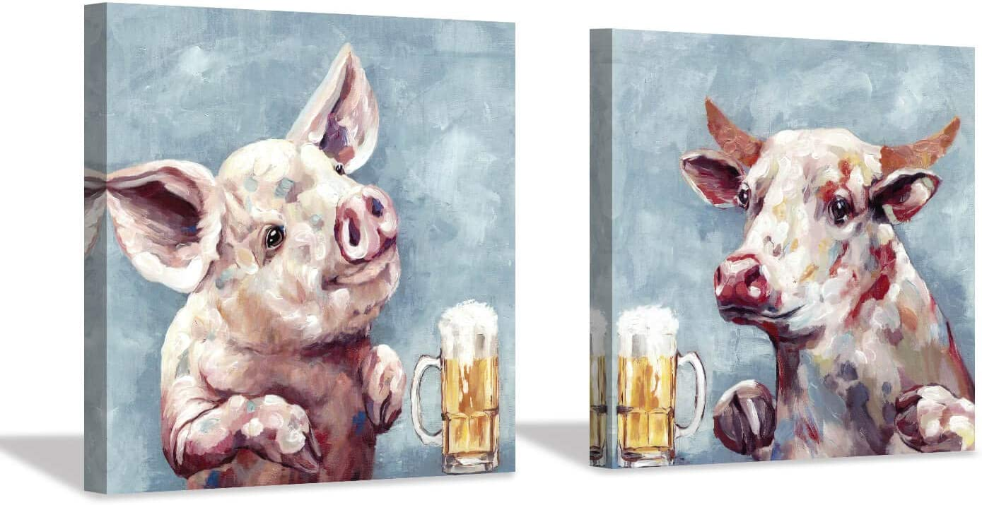 Hardy Gallery Abstract Pig Cow Canvas Picture: Cute Pig and Cow Artwork Print Painting for Kids Room (16'' x 16'' x 2 Panels)