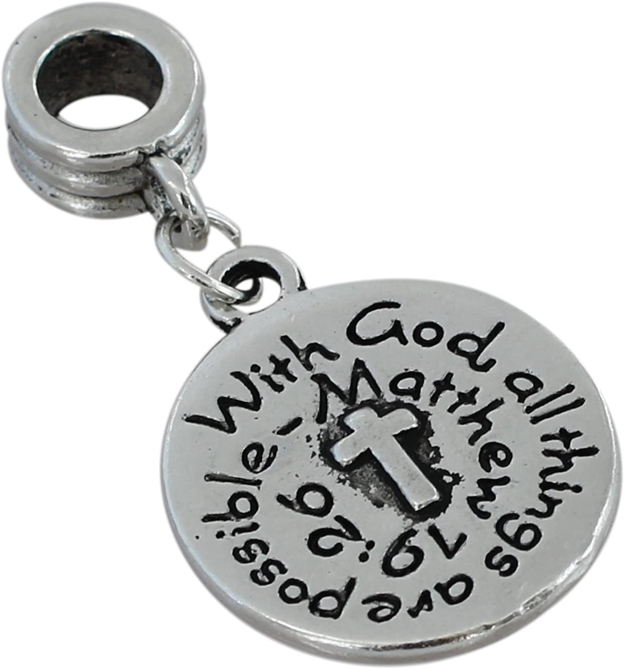 Forge with God All Things are Possible Religious Charm Bead Compatible with European Snake Chain Bracelets