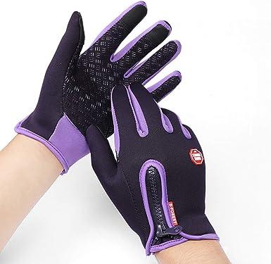 ANYIKE Guantes de ciclismo de invierno cálidos a prueba de viento antideslizantes guantes térmicos para clima frío smartphone pantalla táctil guantes para hombres mujeres, Hombre, color Morado (, tamaño 90: Amazon.es: Ropa
