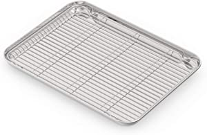 Stainless Steel Baking Sheets with Rack, HEAHYSI Mini Cookie Sheets and Nonstick Cooling Rack & Medium Metal Baking Pans & Toaster Oven Tray Pan, Rectangle Size 12.5x9.8x1 inch & Non Toxic