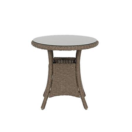 Polyrattan Tisch Rund O 60cm Schwarz Beistelltisch Rattan