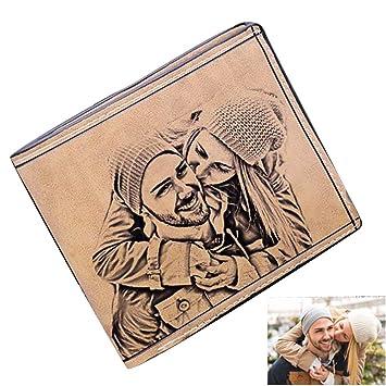 Cartera Billetera Personalizado Foto Grabado Palabras Hombre Plegable Cuero Regalo Personalizado para Familia Novio(Solo Lado marrón Claro F): Amazon.es: ...