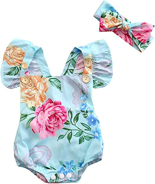 Sunsuit Clothes Newborn Infant Baby Girls Floral Lace Bodysuits Summer Toddlers