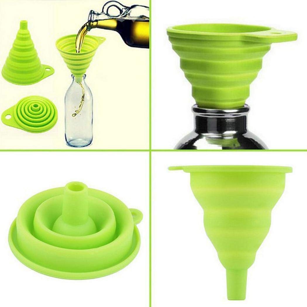 Xixini 1Pcs Useful and Durable Home Kitchen Silicone Portable Collapsible Funnel Random Color