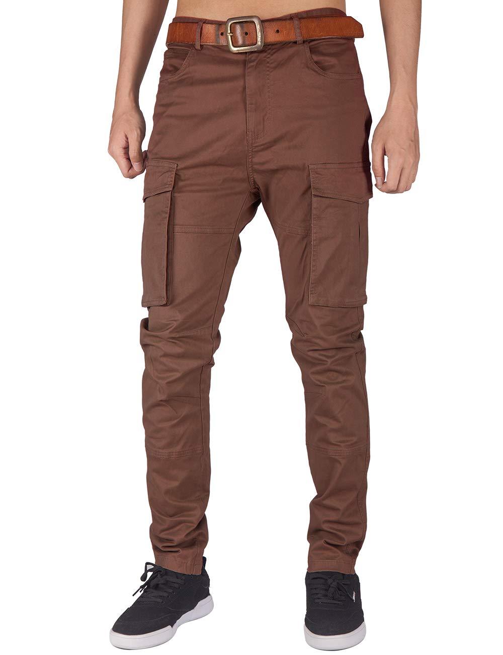 ITALY MORN Men's Chino Cargo Skinny Casual Pants S Dark Brown