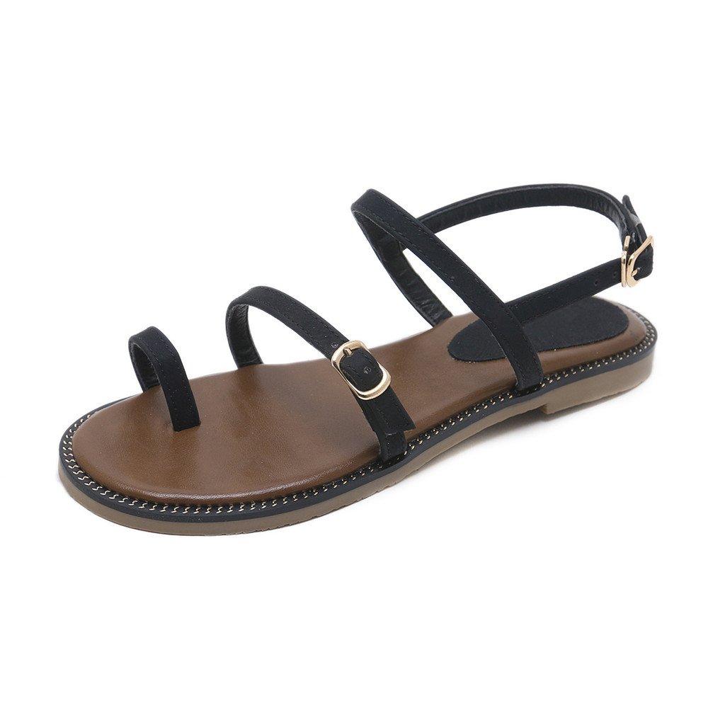 MAKEGSI Summer Women Roman Style Exposed Toes Flat Sandals (8, Black)