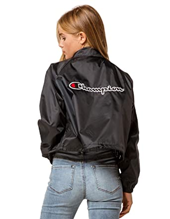 3df527e5add Amazon.com  Champion LIFE Women s Cropped Coaches Jacket  Clothing