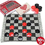 Obeda 3 in 1 Giant Checkers Set and Tic Tac Toe with Reversible Rug, Classic Indoor and Outdoor Board Game for Family