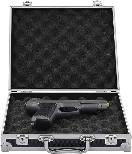 Abschlie/ßbar Pistolenkoffer mit 2 Schl/üssel Festnight- Waffenkoffer Schwarz Aluminium ABS 47 x 26 x 8,3//31 x 26 x 15,2//31 x 26 x 8,3 cm
