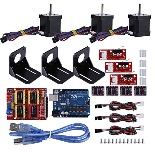 3D Printer CNC Module Kit, CNC Shield Board, Nema 17 Stepper Motor, Stepper Motor Drive for Kuman UNO R3 Arduino Professional CNC DIY Kit 35Pcs
