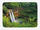 Ambesonne Landscape Bath Mat, Majestic Twin Wailua Waterfalls Kauai Hawai Greenery Forest Grass Nature Scenic View, Plush Bathroom Decor Mat with Non Slip Backing, 29.5 W X 17.5 W Inches, Green