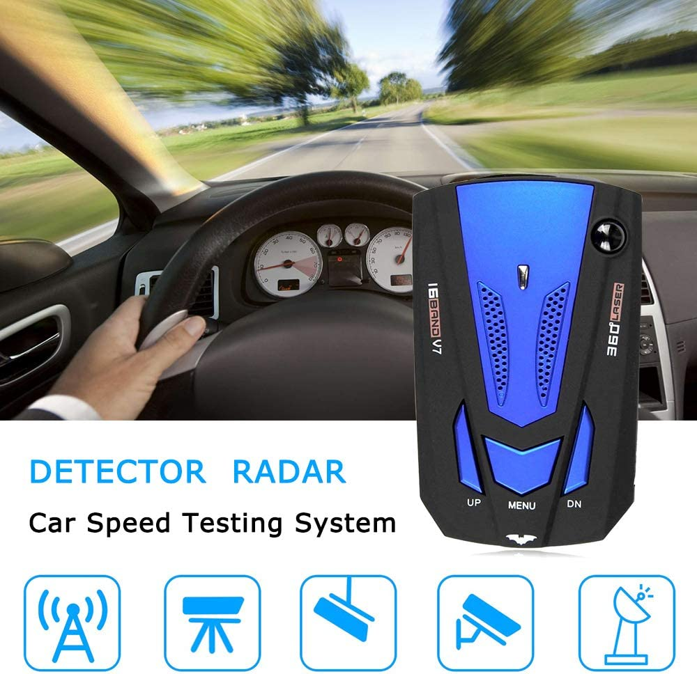 FCC Approved 360 Degree Detection Policy Radar Detectors Kit with LED Display Prompt Speed Laser Radar Detector for Cars City//Highway Mode