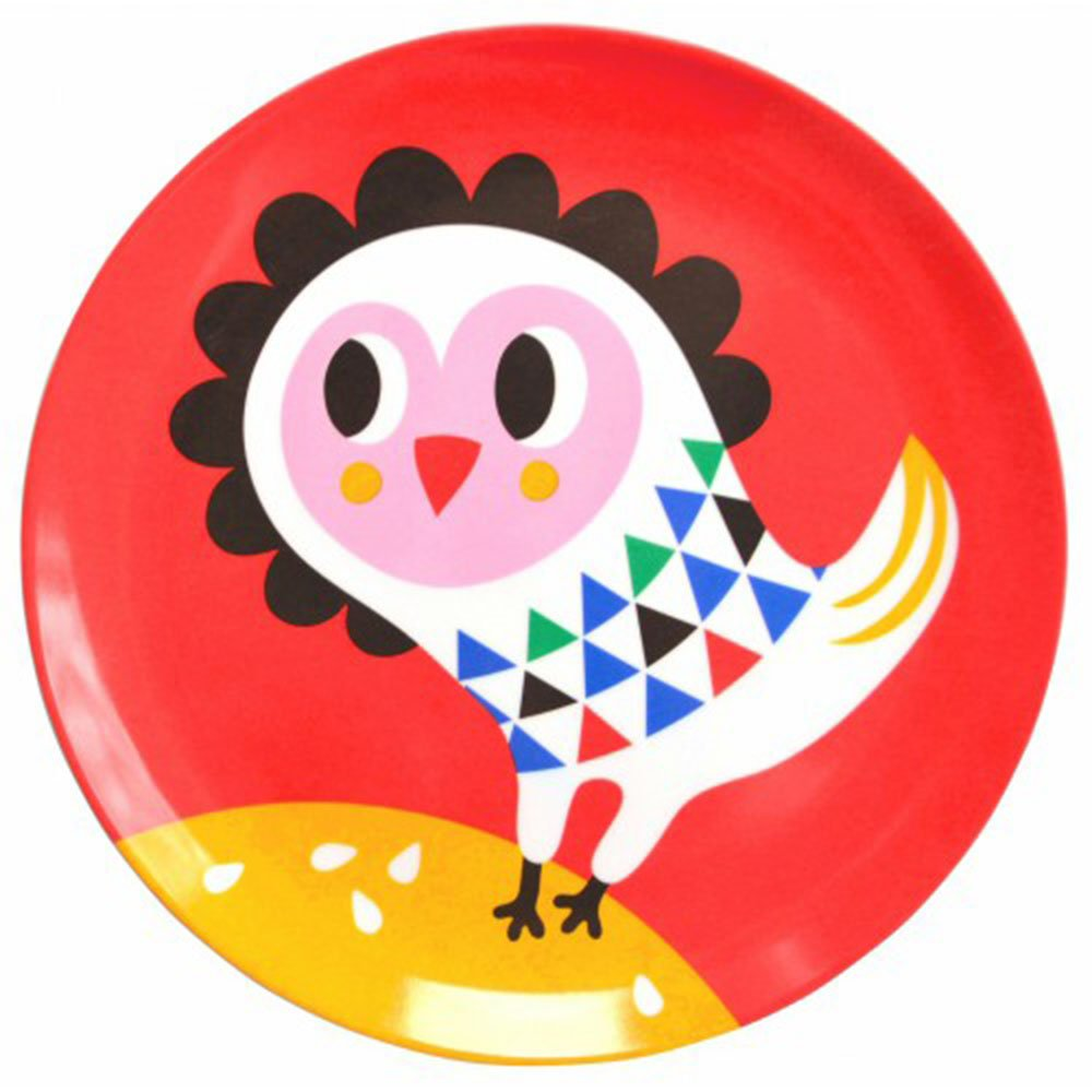 Helen Dardik Melamine Side Plate Owl on Red