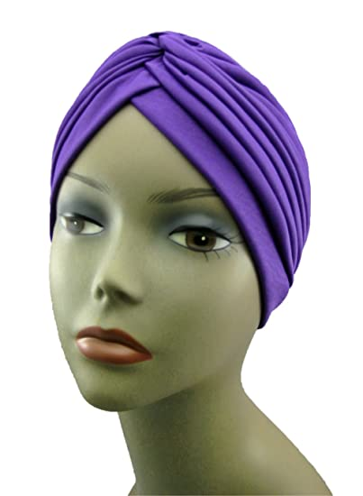 Turban PURPLE Twist pleated Hair Wrap stretch turban Womens Head Wrap Cap Cover