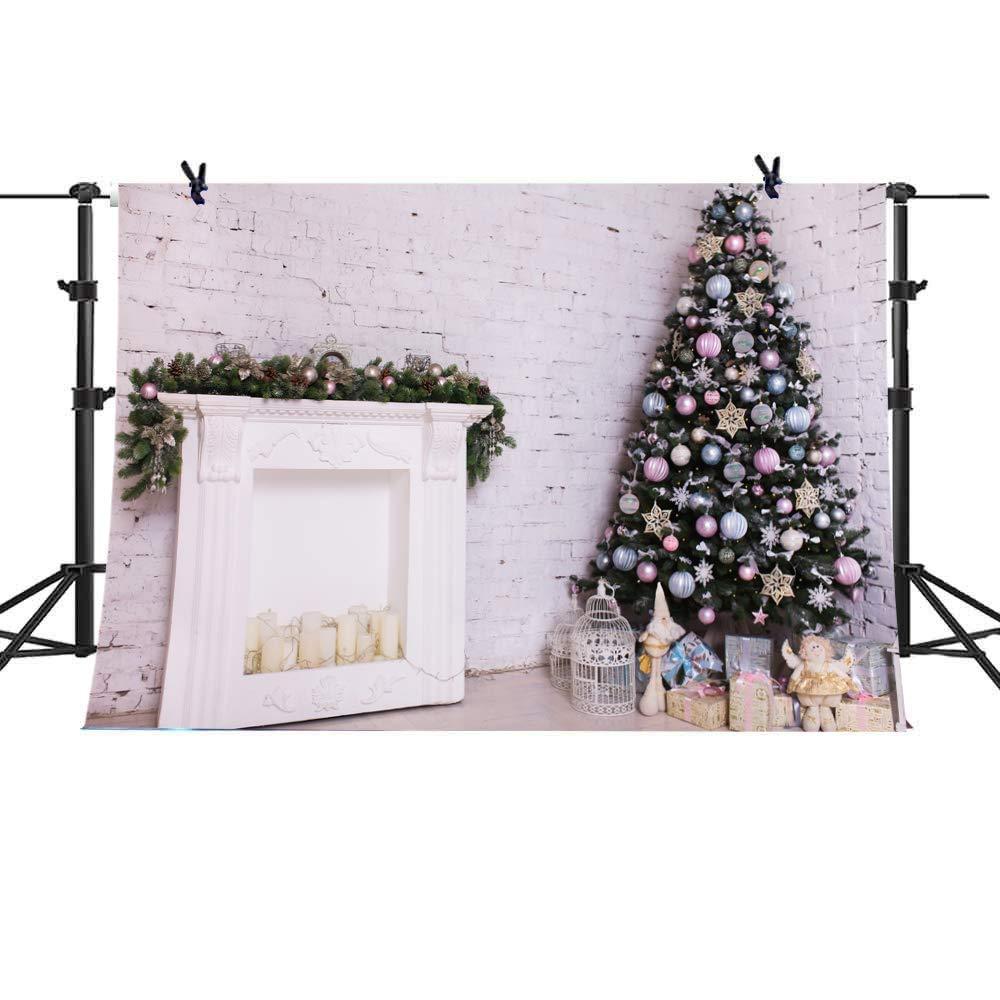 Christmas Backdrop Xmas Fireplace Tree Sock Gift Theme Photograhy Background White Retro Wood Floor Wall Santa Garland Christmas Ball Xmas Party Backdro 7x5FT