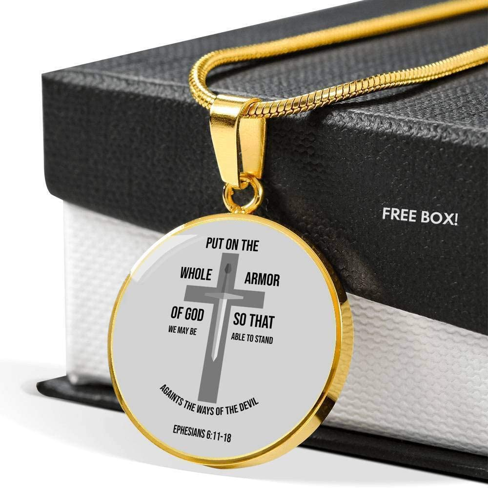 Express Your Love Gifts Ephesians 6:11-18 Circle Pendant Necklace Stainless Steel or 18k Gold 18-22