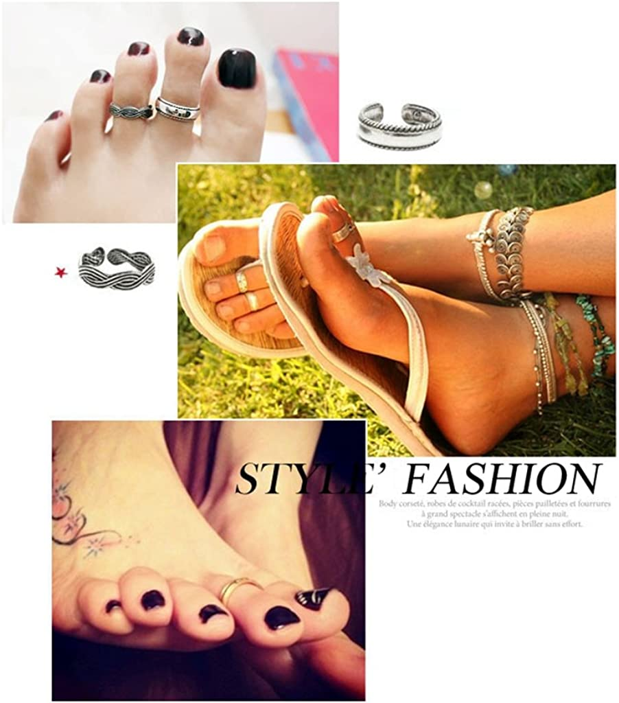 ShiningLove Hot Beach 12pcs Adjustable Open Cuff Toe Rings Simple Silver Foot Jewelry