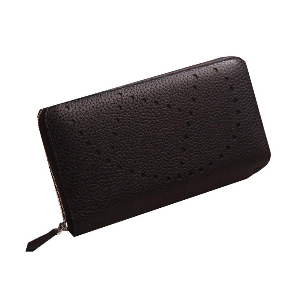婦人用バッグ本物 多色最初の層牛革中空ユニークな性格男性と女性のウォレットハンドバッグのカード袋は、携帯電話のファッションを置くことができます ファッション (色 : ブラック) B07MMKZ987 ブラック