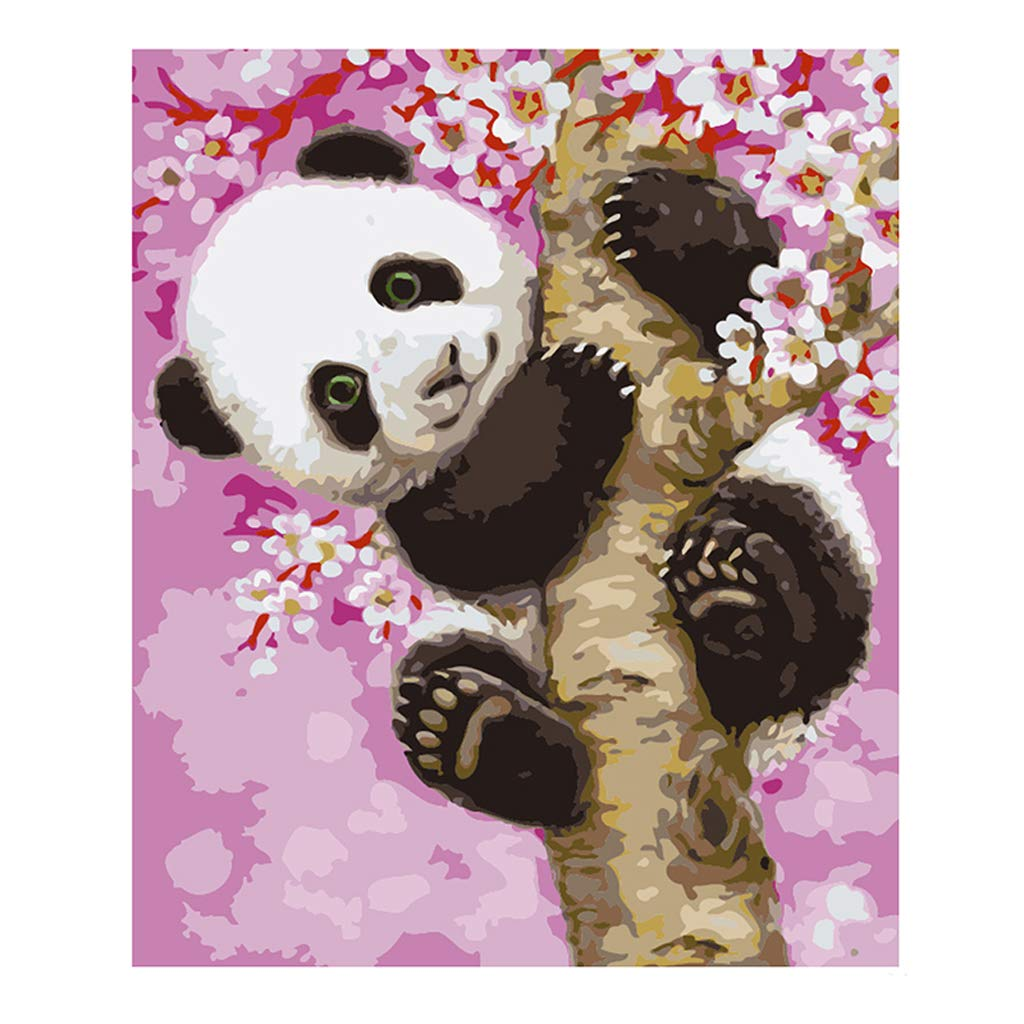 Baiyao Frameless, Paint by Numbers DIY Oil Painting Panda Canvas Print Wall Art Home Decoration