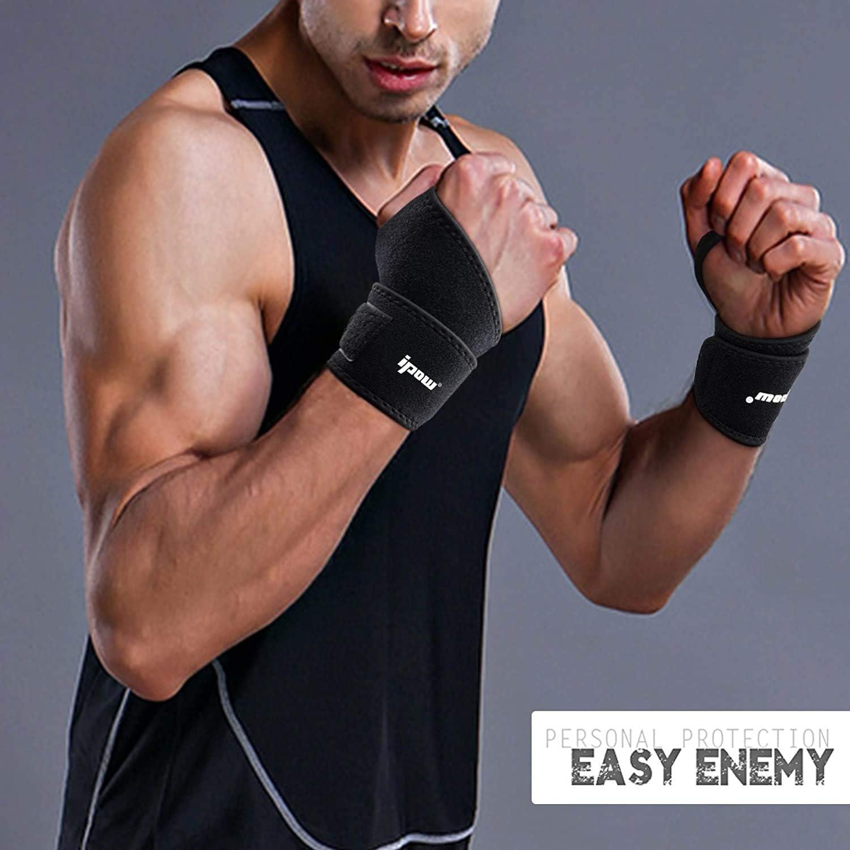 Bodybuilding Crossfit IPOW 2 PZ Polsiere Palestra Fasce Palestra Polsi Fasce da Polso Professionali Anti-Sudore Flessibile con Cinturino Regolabile Perfetto per Sollevamento Pesi