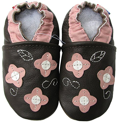 Carozoo Toddler Kids Unisex Slipper Animal Flower Soft Sole Leather Baby Shoes (2-3 Years, Pink Flower Leaf Brown)