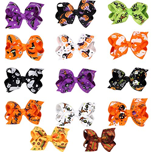 Halloween Bat Pumpkin Hair Bows Alligator Clips Ribbon Cartoon Baby (Pumpkin Bow)