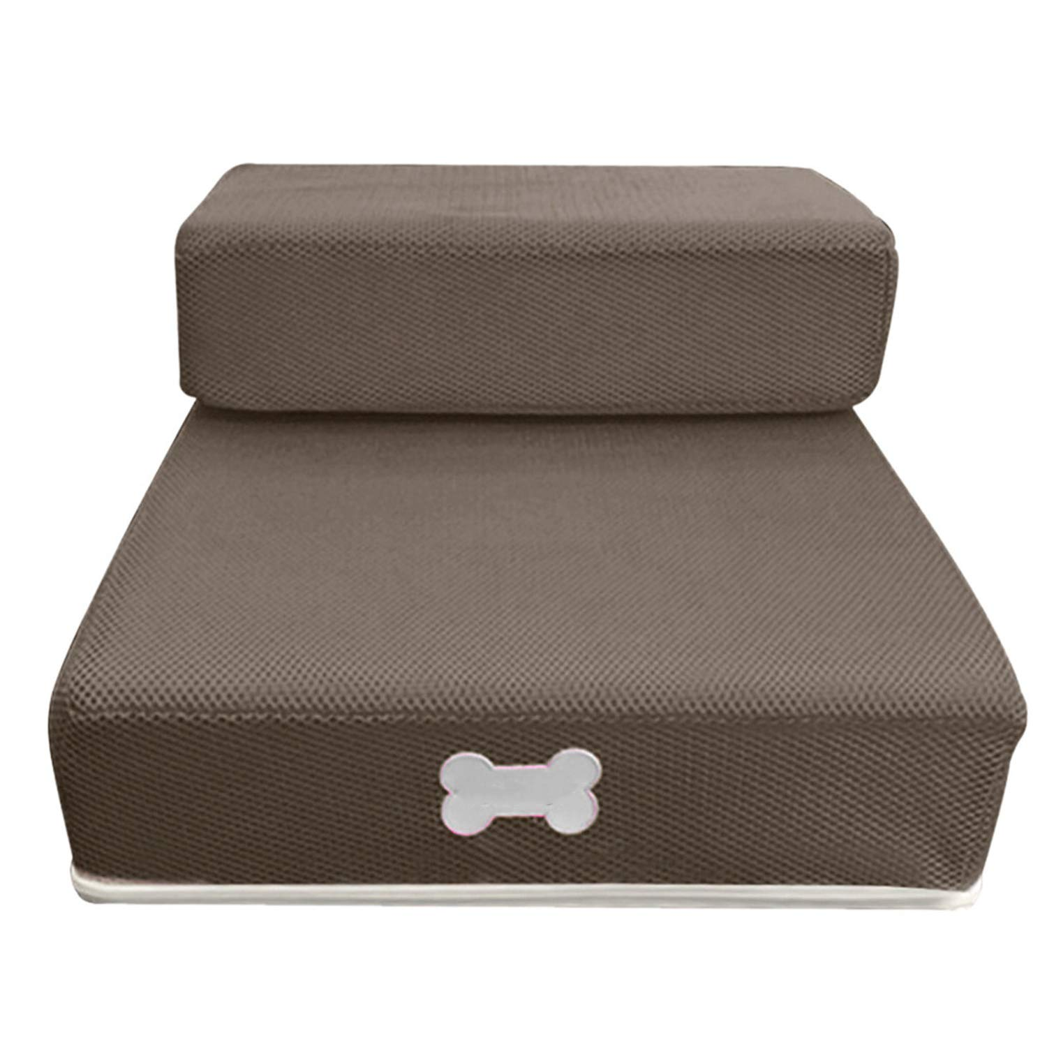 Breathable Mesh Foldable Pet Stairs Detachable Pet Bed Stairs Dog Ramp 2 Steps Ladder for Small Dogs Puppy Cat Bed M/L,Brown,L by Yeaha pet-stairs-and-steps