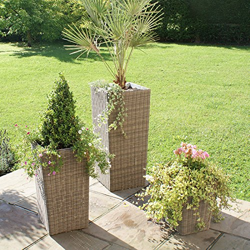 Maze Rattan Winchester 3geformte Rattan Wintergarten Blumentopf Set