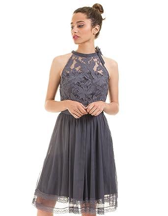 15be1d780b Vila Embroidered Blue Dress Vizinna by Clothes (Blue - 38)  Amazon ...