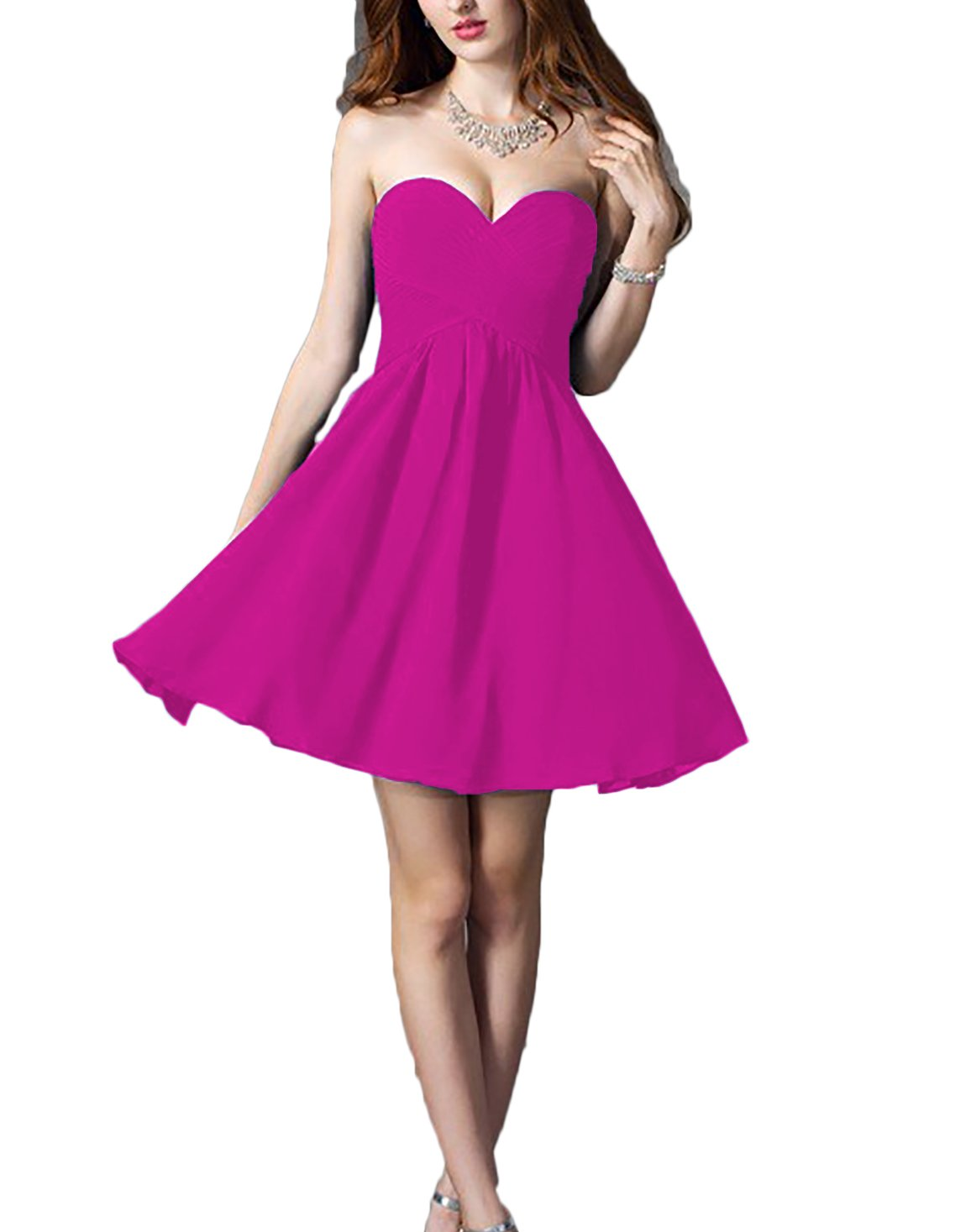 93db3e973f8 ... Women s 2018 Empire Sweetheart Short Bridesmaid Dresses Chiffon Party  Gowns Casual Hot Pink 4.   