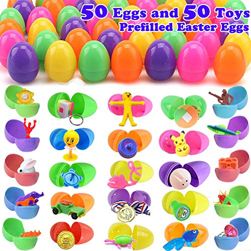 50 Easter Eggs with 50 Toys Inside, Easter Basket Stuffers Contain Miniature Novelty Toys for Surprise Egg Fillers Party Favors, Great Easter Hunt for Party Games for Boys Girls Easter Gifts