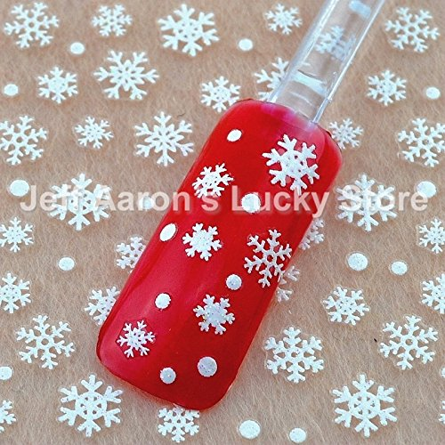 Pyrsun(TM) 5 Sheets glitter snowflake design 3d nail art stickers Christmas manicure nails decals foil decorations tool XH510
