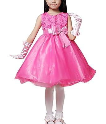 752c6a504cc Kids Girls Cute Fashion Dresses Ball Gown Evening Dance Wedding Flower Girl  Dress Rose