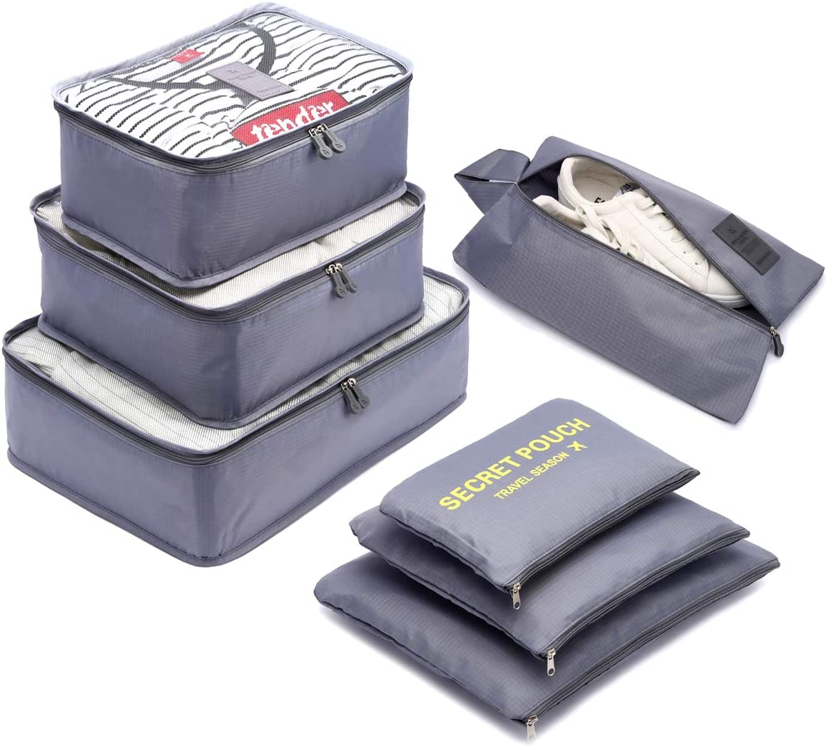 Organizador de Equipaje,LOSMILE 7 en 1 Set Impermeable Organizadores de Viaje para Maletas,3 Cubos de Embalaje +3 Bolsas de Almacenamiento+1 Saco de Zapatos.(Gris)