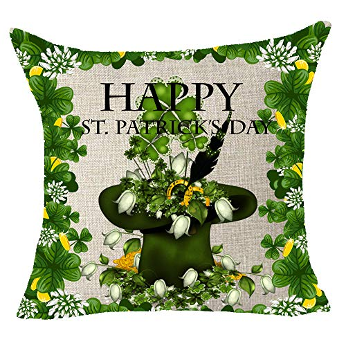 Throw Irish Cotton (FELENIW Happy Green St.Patrick's Day Clover Hat Flowers Happy Irish National Day Cotton Linen Decorative Throw Pillow Cover Cushion Case 18x18 inches)