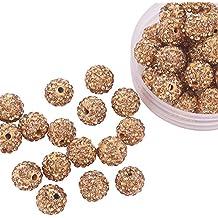 Pandahall 100 Pcs 10mm Light Colorado Shamballa Topaz Pave Disco Ball Clay Beads, Polymer Clay Rhinestone Beads Round Charms Jewelry Makings
