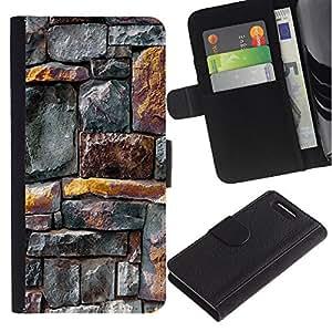 KingStore / Leather Etui en cuir / Sony Xperia Z1 Compact D5503 / Líneas patrón de la pared rústica Oro Gris