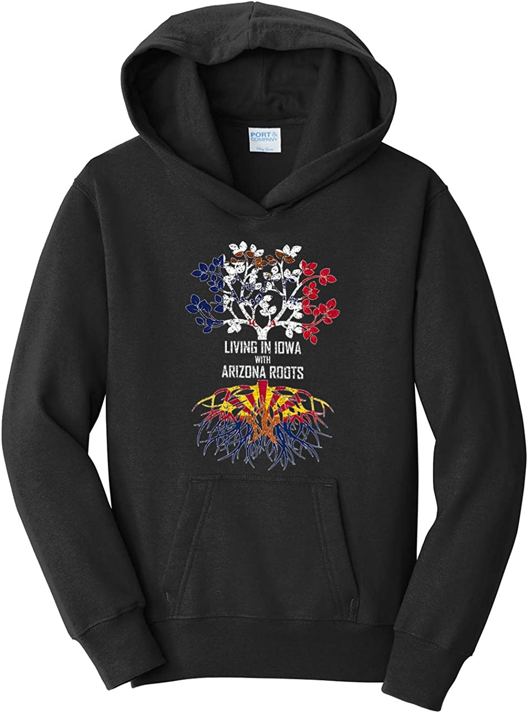 Black Tenacitee Girls Youth Living in Iowa with Arizona Roots Hooded Sweatshirt Large