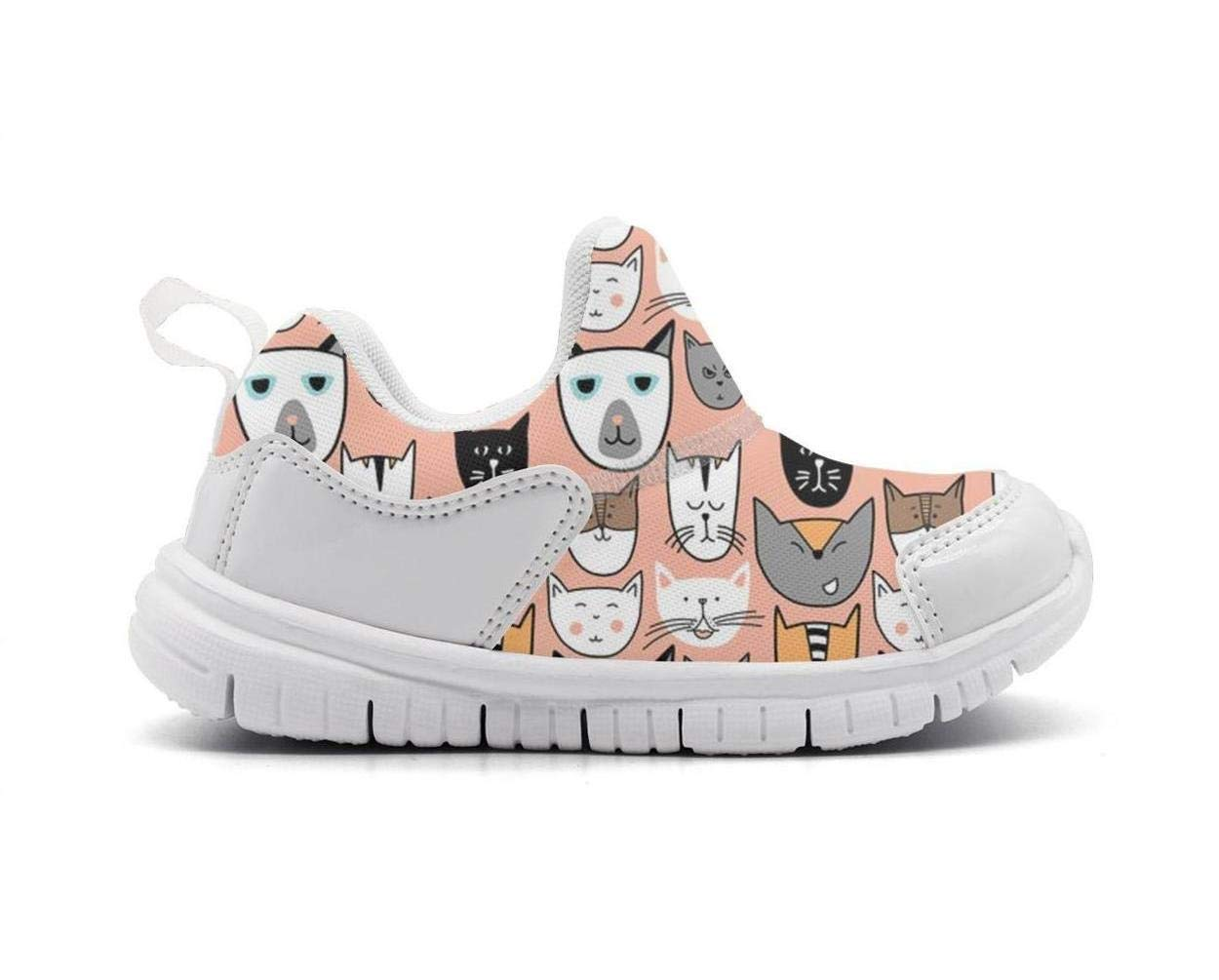 ONEYUAN Children Kawaii Kitty Cats face Kid Casual Lightweight Sport Shoes Sneakers Walking Athletic Shoes