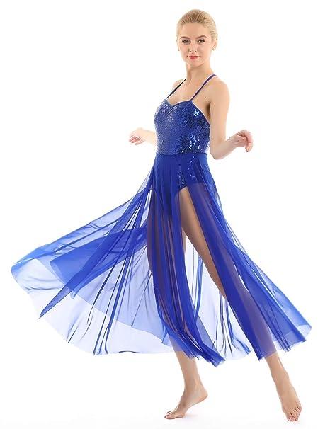 inhzoy Vestido de Danza Ballet para Mujer Lentejuelas Traje ...