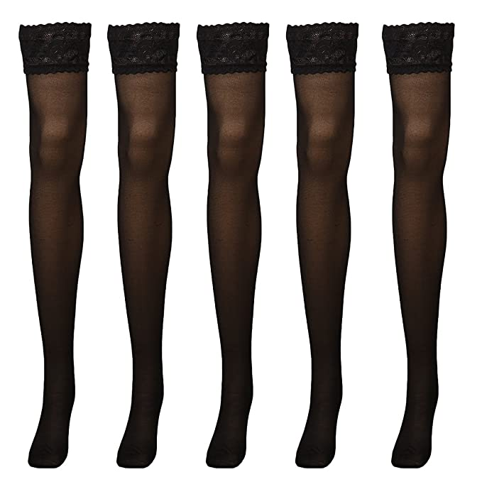 2148b88f3 Women Sheer Silky Thigh Highs Stockings with Stay Up Silicone Lace Top 5  Pairs Black