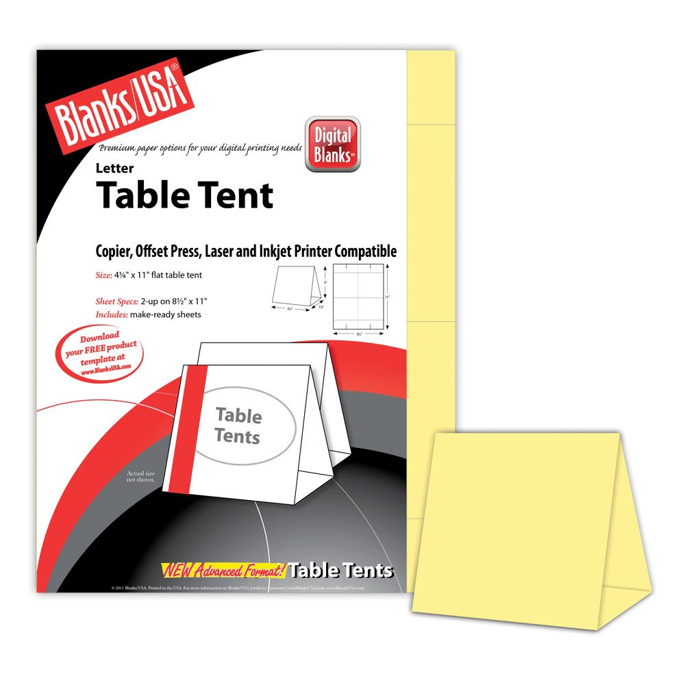 Digital Table Tents - 250 Pack (Canary)