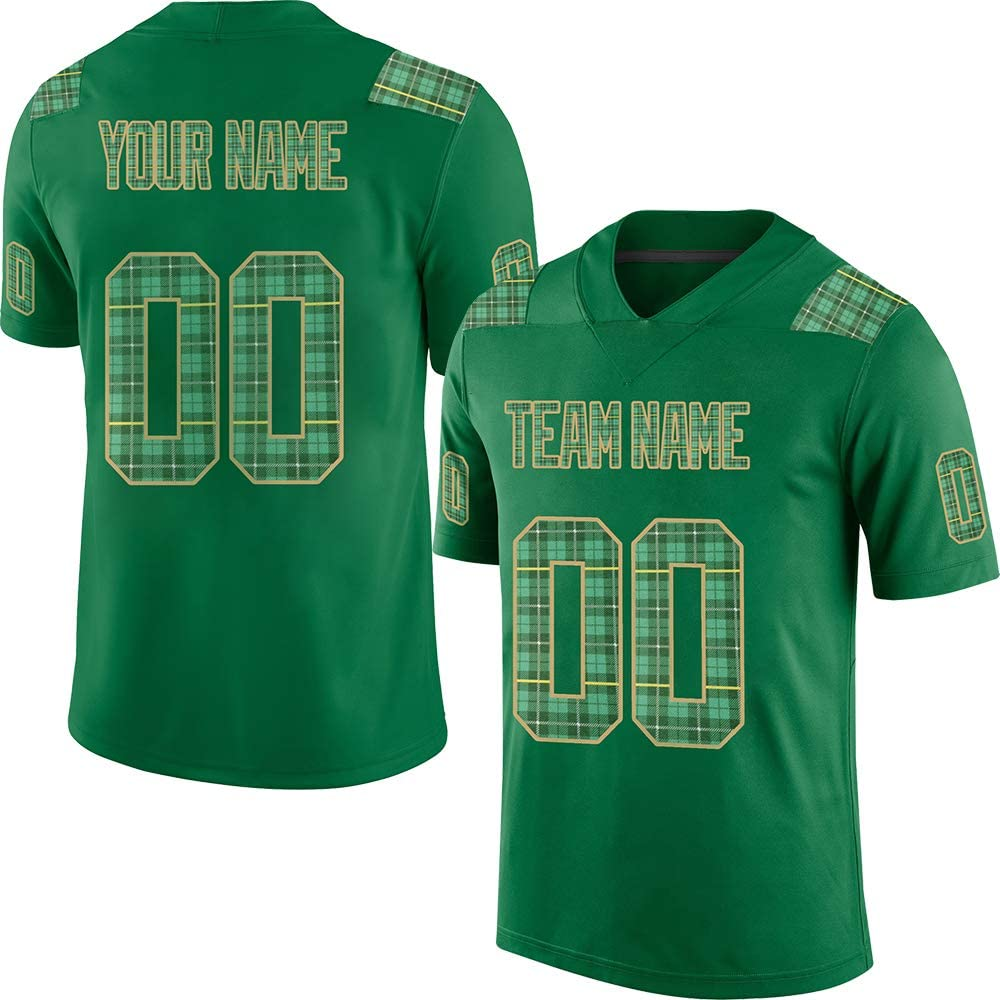 Pullonsy Green Custom Football Jerseys for Men Women Youth Embroidered Names and Numbers S-8XL Design Your Own