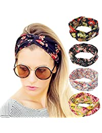 IMISNO 4 Pack Cross Women Headband Stretchy Twisted Elastic Head Wrap Floal Style